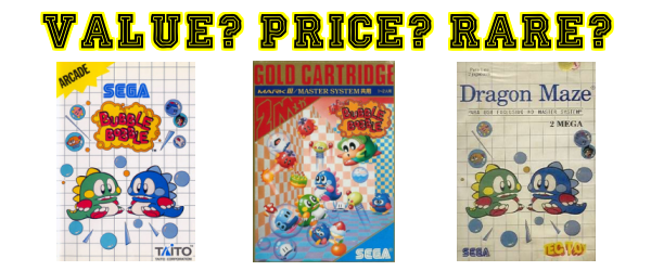 Bubble Bobble Master System Banner Value Price Rare